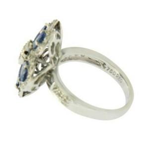 18K White Gold 0.50 CT Diamonds & 2.20 CT Blue Sapphire Flower Ring »BL117