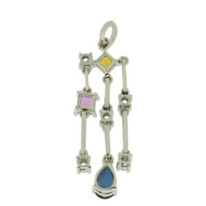 18K White Gold 0.21 Ct Diamonds & 1.25 CT Set Multi Sapphire Pendant »BL117