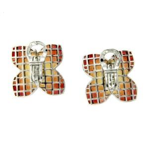 18K Gold Diamonds & Invisible Set 9.86 CT Orange Sapphire Flower Earring »E3228