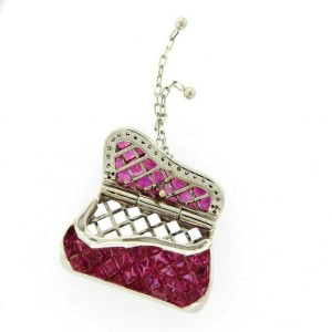 """18K Gold 0.11 CT Diamonds 606 CT Invisible Set Ruby Purse Necklace 18"""" »N3127"""