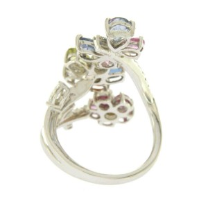 4.09 CT Natural Multi Sapphires & 0.36 CT Diamonds in 18K White Gold FLower Ring