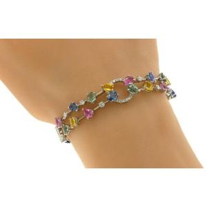 "8.18 CT Multi Gemstones & 0.66 CT Diamonds 18K White Gold Bracelet Size 7"""