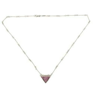 """14K Gold 0.09 CT Diamonds 2.90CT Invisible Set Pink Sapphires Necklace 16"""" »BL16"""