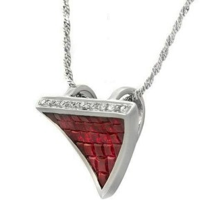 """14K White Gold 0.09 CT Diamonds 2.90 CT Invisible Set Ruby Necklace 16"""" »BL17"""