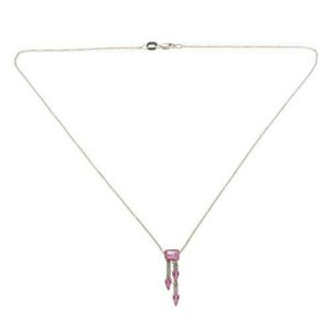 """14K White Gold 0.10 CT Diamonds 1.91 CT Pink Sapphires Necklace 16"""" »BL110"""
