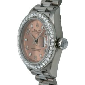 Rolex President 69179 Automatic 18k Solid White Gold Watch Diamond Bezel 26mm