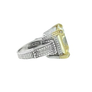 Judith Ripka Large Square Yellow Colored Stone Stainless Steel Ring