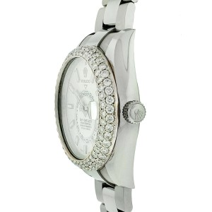 Rolex 326934 Sky Dweller Pave Diamond Bezel White Dial Stainless Steel Watch