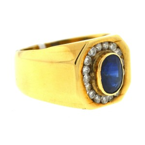 14k Yellow Gold Sapphire & Diamonds Men's Ring
