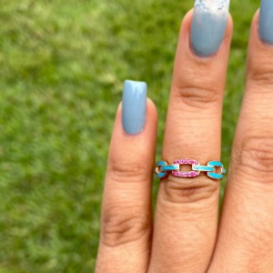 Jennifer Zeuner Lisbon 14k Rose Gold Turquoise Enamel Pave Ruby Ring