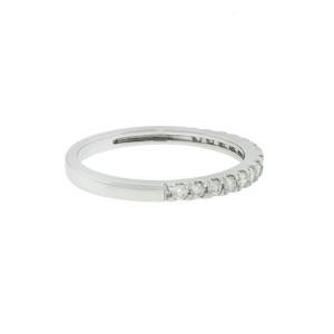 14k White Gold Narrow Diamond Wedding Band Aprx .20ctw