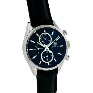 Tag Heuer Carrera Cal.1887 Black Dial Stainless Steel Watch on Leather Band