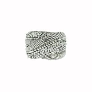 Judith Ripka Sterling Silver Wide Diamonique Cz Ring