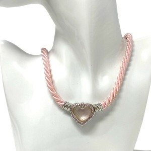 Judith Ripka Sterling Silver heart pendant on pink rope necklace