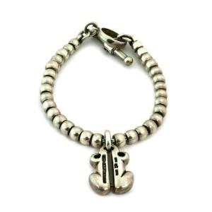 Kieselstein Cord 1997 Sterling Silver Frog Charm Bead Toggle Bracelet