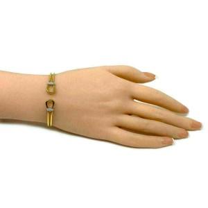 Roberto Coin Classic Parisienne Diamond 18k Gold Loop Cuff Bracelet