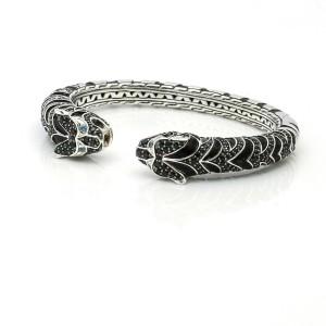 John Hardy Legends Macan Sterling Silver Tiger Cuff Bracelet Black Sapphire Trim