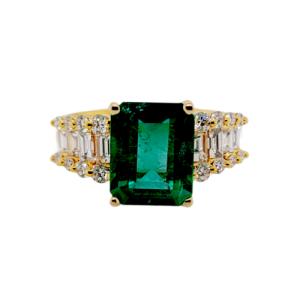 2.58 CT Zambian Emerald & 1.03 CT Diamonds in 18K Yellow Gold Engagement Ring