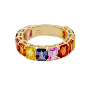 6.81 CT Multi Color Sapphire in 14K Yellow Gold Band Ring