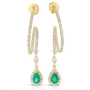1.02 CT Colombian Emerald & 1.04 CT Diamonds in 14K Yellow Gold Drop Earrings
