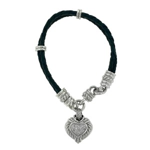 Judith Ripka Sterling Silver Heart Cz Charm on a Leather Bracelet