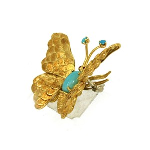 Turquoise & Ruby Butterfly 18k Yellow Gold Brooch Pin