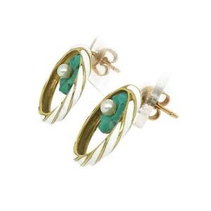 Enamel & Pearls Floral  14k Yellow Gold Circle Earrings
