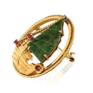 Vintage Diamond Jade & Ruby 14k Yellow Gold SailBoat Round Pendant