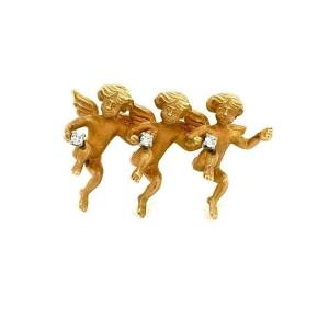 Designer Diamond & 14k Yellow Gold Three Cherubs Brooch Pin
