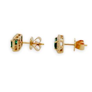 1.10 CT Colombian Emerald & 0.30 CT Diamonds in 14K Yellow Gold Stud Earrings