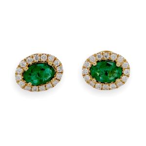0.88 CT Colombian Emerald & 0.27 CT Diamonds in 14K Yellow Gold Stud Earrings