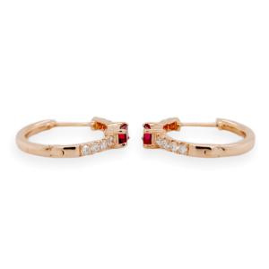 0.47 CT Natural Ruby & 0.17 CT Diamonds in 14K Rose Gold Hoop Earrings