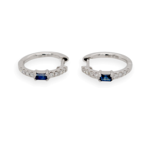 0.47 CT Natural Blue Sapphire & 0.17 CT Diamonds in 14K White Gold Hoop Earrings