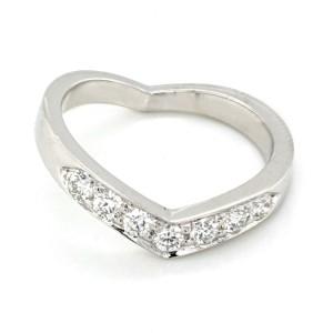 Authentic Tiffany & Co 950 Platinum Heart V Shape Wedding Band Ring Size 6.5