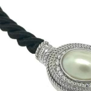Judith Ripka Sterling Silver Pearl Cz Pendant Rope Necklace