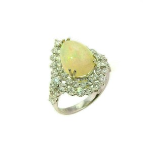 Diamonds & Pear Shaped Opal 18k White Gold Cocktail Ring