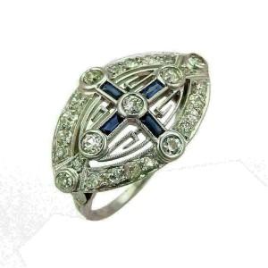 Art Deco Diamond & Sapphire Platinum Cross Design Milgrain Ring