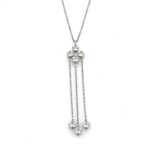 Tiffany & Co. Jazz Diamond Platinum Triple Strand Dangle Pedant Necklace