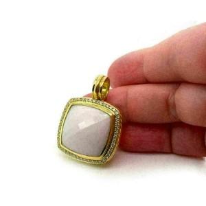 David Yurman Albion Diamond White Agate 18k Yellow Gold Pendant