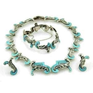 Margot De Taxco Silver & Enamel Fancy Leaf Design Necklace Bracelet Earring Set