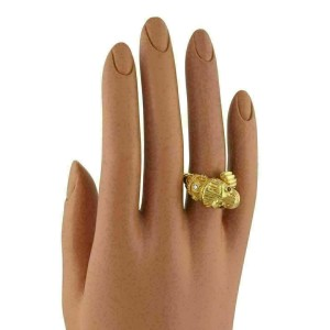 Llias Lalaounis Diamond Ruby 18k Yellow Gold Lion Head Bypass Band Ring