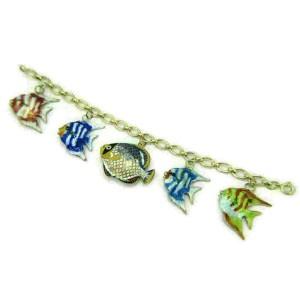 Multi-Color Enamel 5 Fish 14k Yellow Gold Charms Chain Bracelet