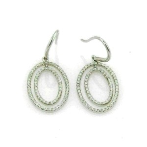 Tiffany & Co. Diamond Metro Oval 18k White Gold Earrings Rt. $4,850
