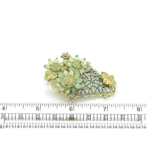 7.25ct Diamond & Opal 18k Gold Fancy Floral Vase Pendant/Brooch
