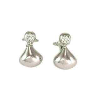 Chopard Diamond 18k White Gold Large Tear Drop Dangle Earrings