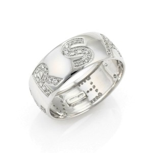 Versace Diamond 18k White Gold Signature Wide Dome Band Ring
