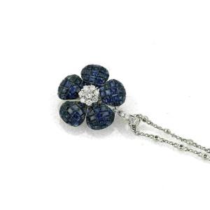 10.41ct Diamond & Sapphire 18k White Gold Flower pendant Necklace