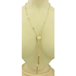 Estate 18k Yellow Gold Fancy Design Long Chain Tassel Necklace