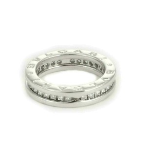 Bvlgari B.zero1 One Band Pave Diamond 18k White Gold Ring Size 50