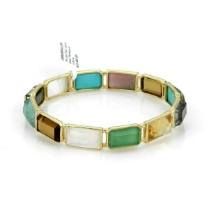Ippolita Rock Candy Rectangular 12 Gems 18k Yellow Gold Bangle Rt. $6,495